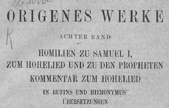 Origenes Werke Bd. VIII